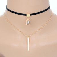 Square Crystal Pendant - Hot Trendy New Double Layer Chocker