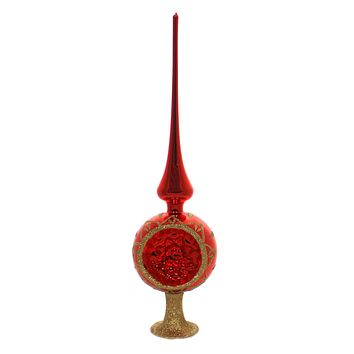 Inge Glas BLOSSOM REFLECTION SHINY RED Tree Topper Finial Standing 20085R033