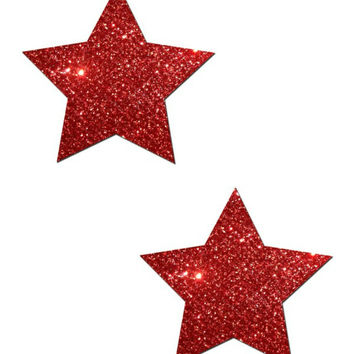 ROCKSTAR: RED GLITTER STAR NIPPLE PASTIES