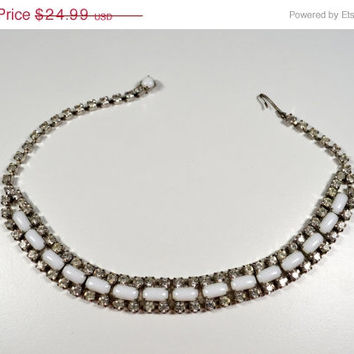 20% OFF Vintage Rhinestone and Milk Glass Choker Necklace SIlvertone Unsigned Milk Glass Necklace 1950s Jewelry