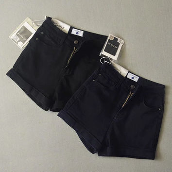 Vintage Slim High Waist Pants Stretch Casual Denim Shorts [6328868481]