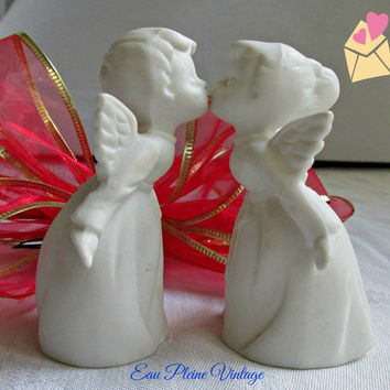 Bisque White Kissing Angels Vintage Figurines from Japan Pair