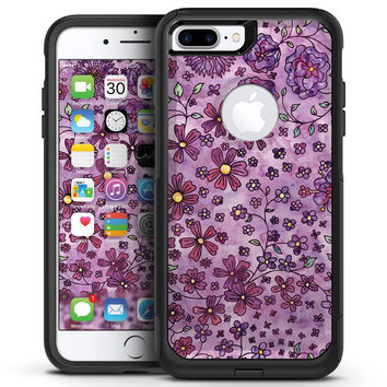 Floral Pattern on Purple Watercolor - iPhone 7 or 7 Plus Commuter Case Skin Kit
