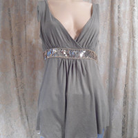 Size Small/Medium Olive Green Womens Halter Top Vintage 90's Disco Boho Gypsy Hippie Style Clothing Greek Goddess Top