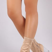 Nude  Boot Clear Heels