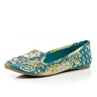 green print stud slip on shoes  - River Island