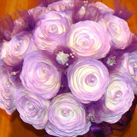 Bridal Bouquet, Purple Roses, Tulle & Ribbon, Wedding Flowers, Fake flowers, Silk flower, coffee filter flowers, Paper flowers,bridal party