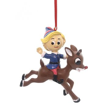 Holiday Ornaments Hermey Riding Rudolph Resin Ornament