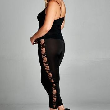 Plus Size Side Lace Leggings