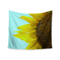 "Richard Casillas ""Sunflower Mint"" Yellow Teal Wall Tapestry"