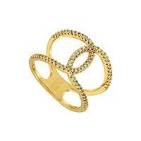 *[R]-Goldtone Chanel Design Style Cubic Zirconia Ring