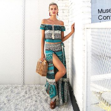 Chicloth Vacation Style Off the Shoulder Bohemian Maxi Dress