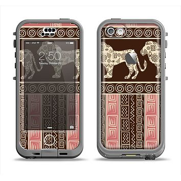 The Aztec Pink & Brown Lion Pattern Apple iPhone 5c LifeProof Nuud Case Skin Set