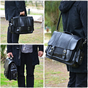 Black Leather Messenger Bag -17 inch Laptop Bag - Leather Briefcase - Laptop Bag - Shoulder Bag