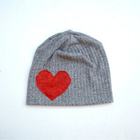 Gray LOVE Heart Slouchy Beanie Womens Hat Winter Accessory valentines day gift