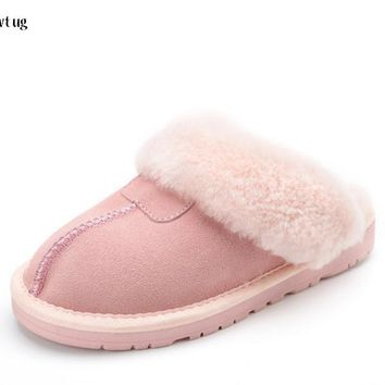 Brand zwt ug genuine cow leather slippers women fur Home Slippers Australia women house Indoor Bathroom slippers fur lady shoes