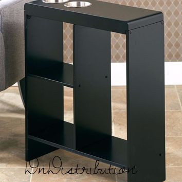 Black Slim Space Saver End Table Wooden Narrow Drink Holders Shelving Storage