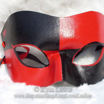 Harlequin Mask, Red and Black, Leather Masquerade Mask, Super Hero Mask, Villain Mask, Cosplay Costume, Masked Ball, Masquerade Domino Mask