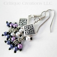 Handmade Celtic Knot Earrings Purple Ombre Cluster Faux Pearl Dangles