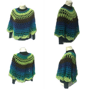 Peacock Crochet Poncho Round Shawl Handmade Crochet Pullover Poncho Capelet Coverup