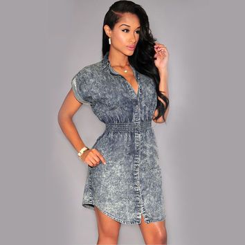 Slim Short Sleeve Shirt Denim Dress Casual A Line Ladies Sexy Mini Dress Blue Short Denim Dresses For Wo SM6