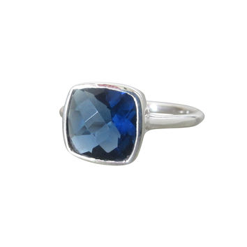 Dark Blue Quartz Square Silver Ring