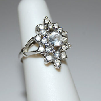 Vintage Rhinestone Ring, Signed Uncas, Engagement Ring, Costume Jewelry