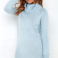 Good and Plenty Light Blue Sweater Dress