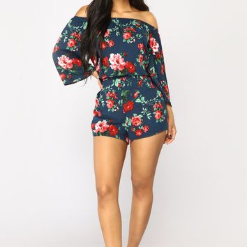 Second Wind Floral Romper - Navy