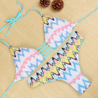 Multicolor Chevron Print Halter Neck Ribbon Back Tie Two-Piece Swimsuit