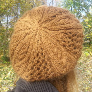 Outlander inspired slouch beret with cable hand knit in extra soft caramel merino angora blend. Perfect gift. Ready to ship