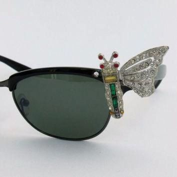 SALE Vintage 50s style BUTTERFLY cateye rhinestones sunglasses clubmaster Ray ban type