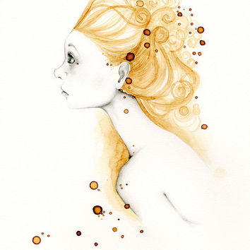 Art Original Drawing OOAK Original Pencil Art Illustration Brown Gold Coffee Staining Minimalist Portrait of a Girl Wall Art