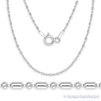 925 Sterling Silver 1.3mm Bead & Bar Link Italian Chain Necklace Rhodium Plated