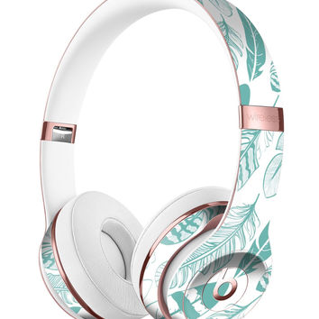 Teal Feather Pattern Full-Body Skin Kit for the Beats by Dre Solo 3 Wireless Headphones