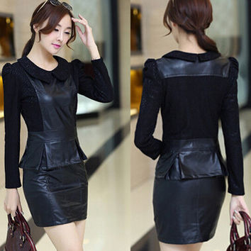 2017 Leather Winter dress Pu women Dress Slim hip long-sleeved short dress Women work wear vestidos