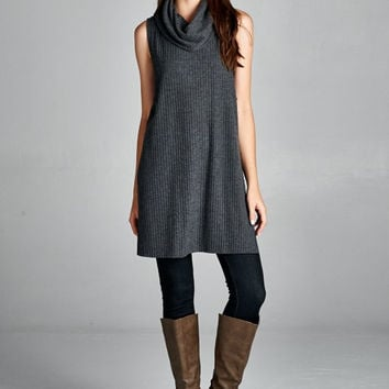 Sleeveless Cowl Neck Tunic Top