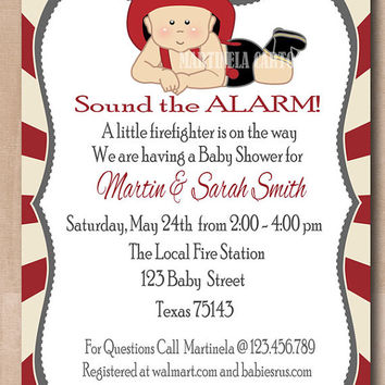 Fireman baby shower invitation, fireman  first birthday invitation, cute firefighter baby boy invite, printable digital file. JPG, PDF