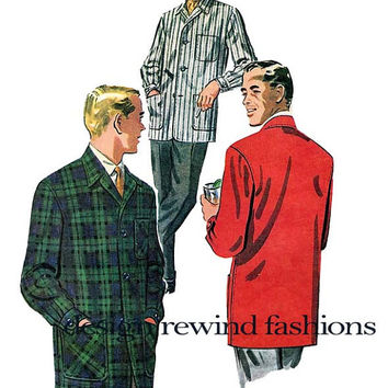 1950s Men's Sports Jacket -Lounge Smoking Office Hipster Shirt Style Jacket - Size Medium Chest 38-40 32 Vintage McCalls 7341 Sewing Pattern