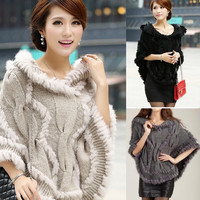 New Knitted Sweater pullover Poncho Rabbit Fur Jacket Coat Shawl Cape hooded   F_B = 1827688644