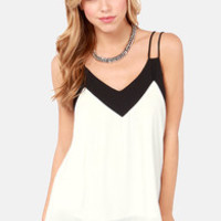 Two-Tone It Down Black and White Top