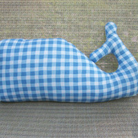 Whale Pillow - Blue and White Checkered Gingham Print - Nautical Nursery Theme Plush Stuffed Whale Softie Toy - Whale Waldorf Toy