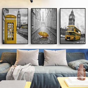 Black And White Landscape With Yellow Bus Telephone Booth Umbrella Canvas Painting Poster And Print Picture Wall Art Home Decor