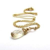 Champagne sunstone necklace, Oregon sunstone pendant, genuine gemstone pendant, gold sunstone jewelry - Various sizes available