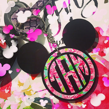 Mickey Inspired Monogram Keychain