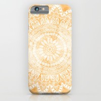 TANGERINE BOHO FLOWER MANDALA iPhone & iPod Case by Nika | Society6