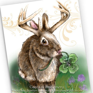2 Jackalope Art Note Cards - Bunny Rabbit with Antlers & four Leaf Clover, Spring Greeting Card, Good Luck Notecard