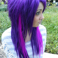 Illicit Dreams / Purple with Neon Violet / Long Straight Layered Wig