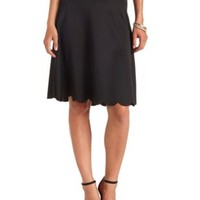 Scalloped High-Waisted Full Midi Skirt by Charlotte Russe - Black