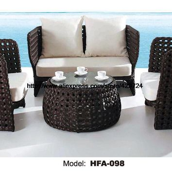 2 Chair Sofa Set Outdoor Rattan Health PE Rattan Furntiure For Garden Beach Swing Pool Sofa Furniture HFA098